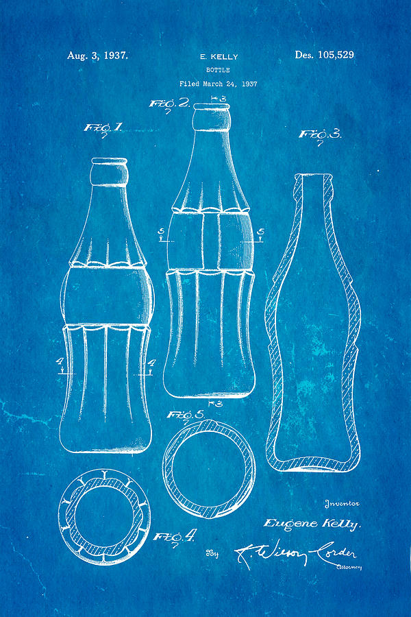 Coca cola bottle patent art 1937 blueprint photograph by ian monk famous photograph coca cola bottle patent art 1937 blueprint by ian monk malvernweather Gallery