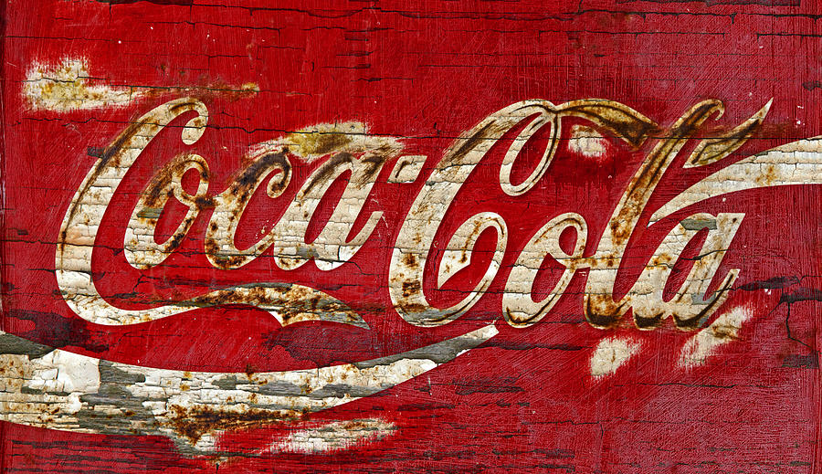 Coca Cola Photograph - Coca Cola Sign Cracked Paint by John Stephens