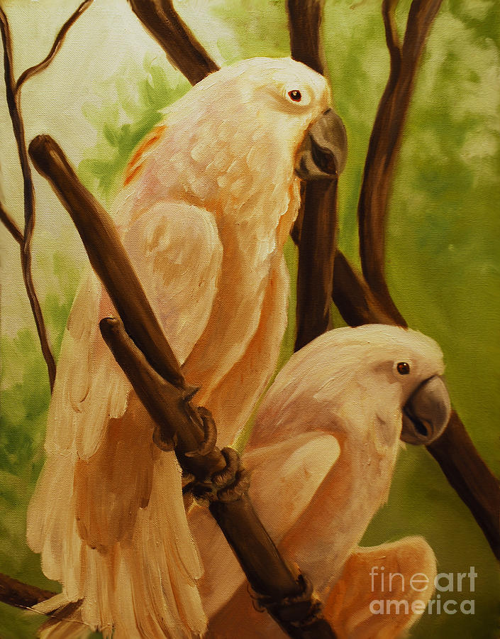 Animals Painting - Cockatoos by Nancy Bradley