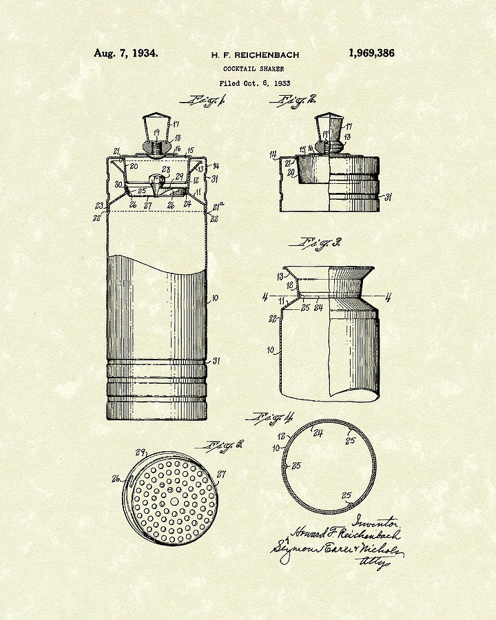 Cocktail Shaker 1934 Patent Art by Prior Art Design