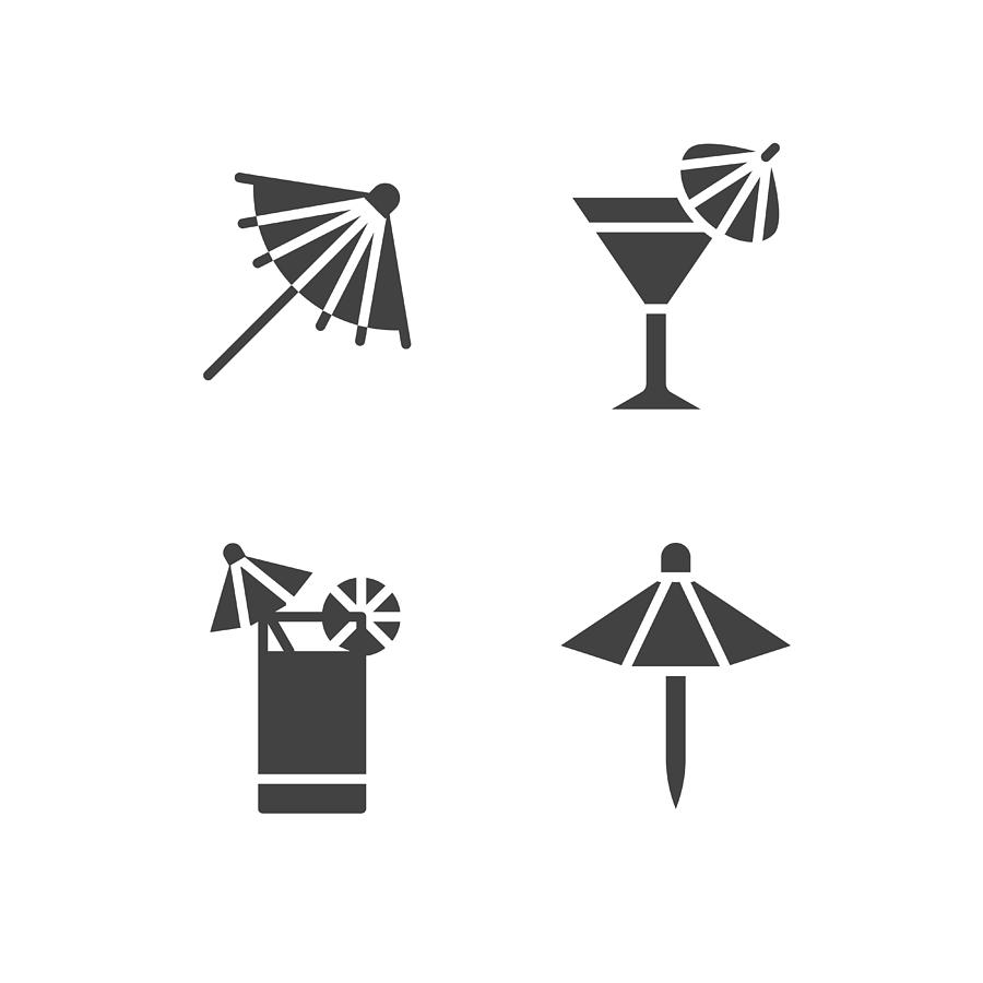Cocktail Umbrella Flat Glyph Icons  Cold Summer Drinks Illustrations,  Tequila Sunrise, Cosmopolitan Alcohol Beverage  Signs For Beach Bar  Solid
