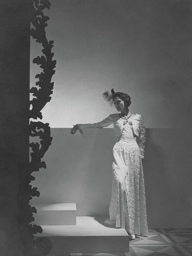 Coco Chanel Wearing A Chiffon Dress Photograph by Horst P. Horst