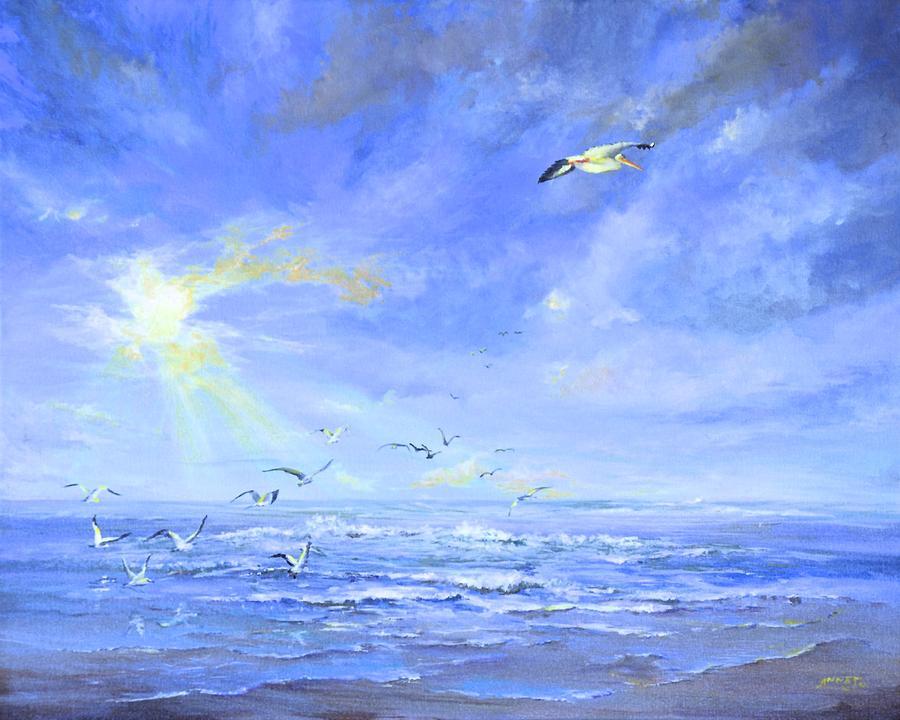 Seascape Painting - Cocoa Beach Birds by AnnaJo Vahle