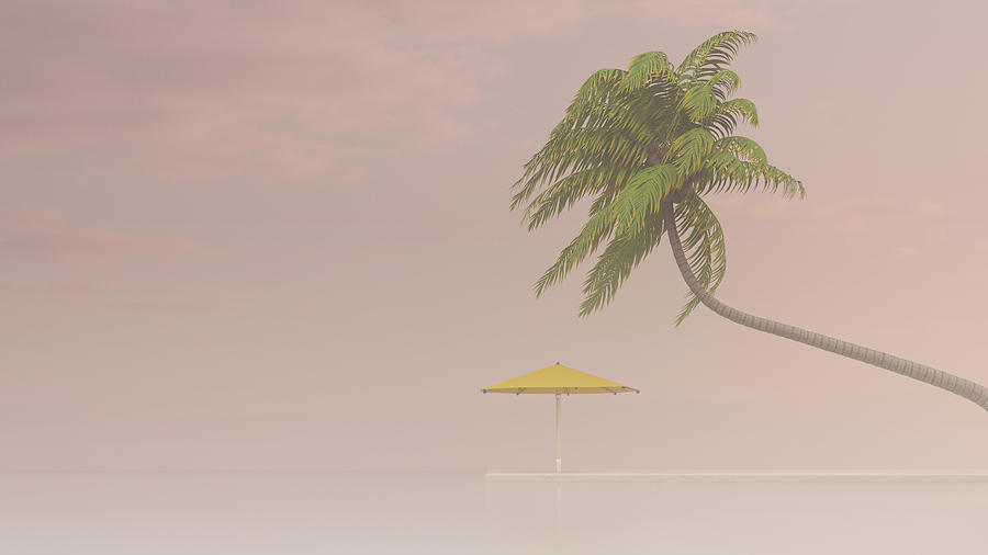 Coconut Palm And Sunshade In Haze, 3d Digital Art by Westend61