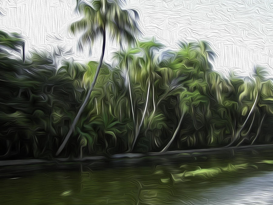 Alleppey Digital Art - Coconut Trees And Other Plants Lined Up by Ashish Agarwal