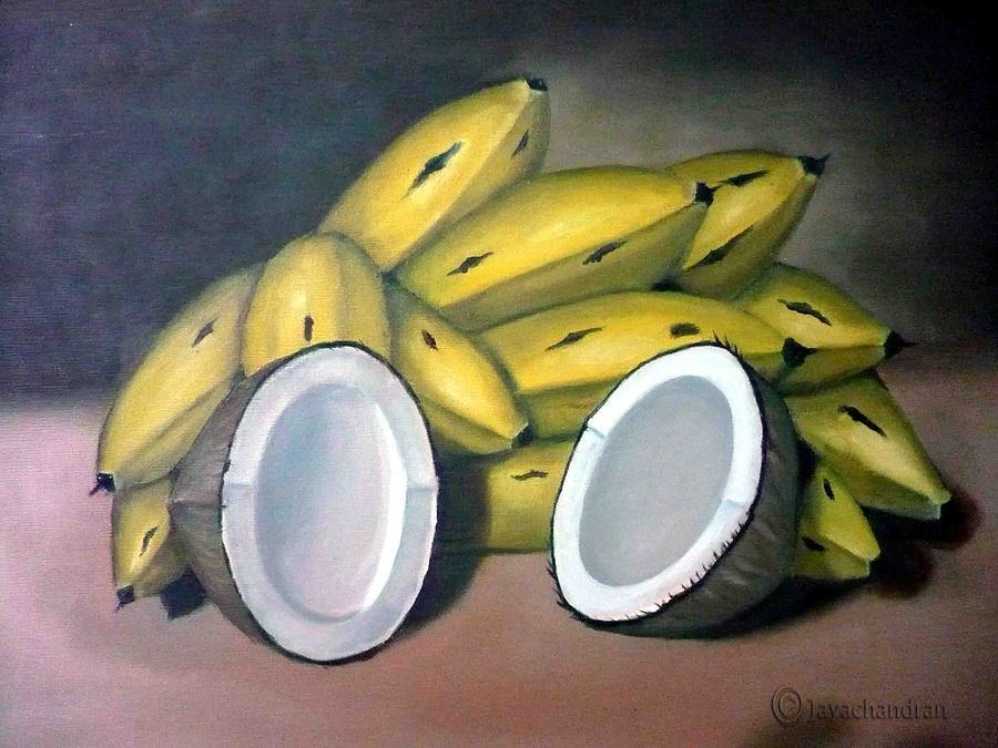 Still Life Painting - Coconuts N Bananas by Jayachandran S Pillai