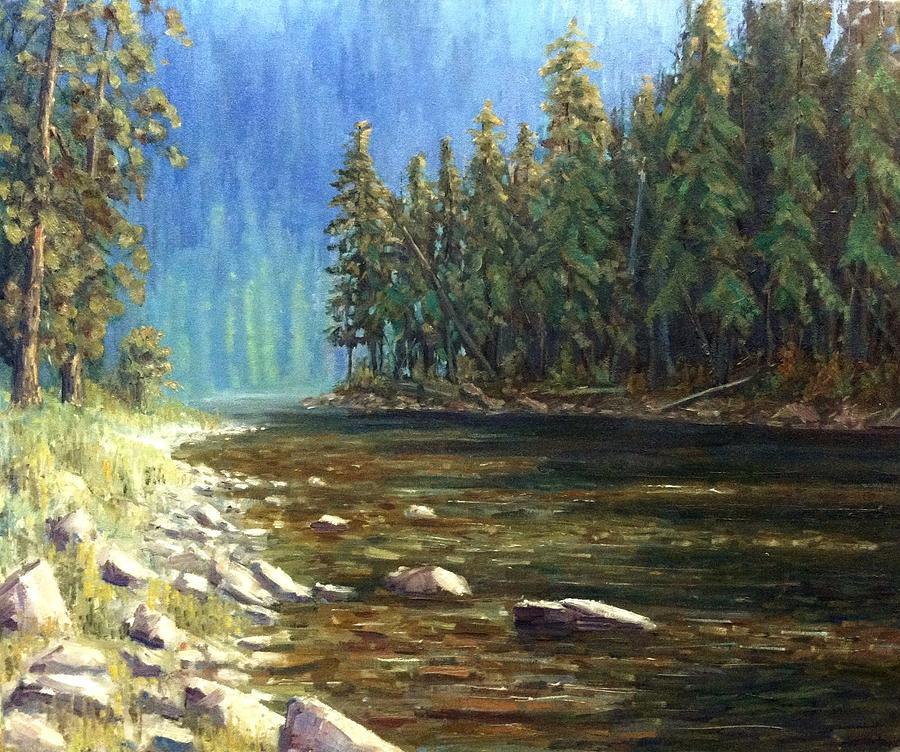 Shoshone County Painting - Coeur Dalene River by Tom Siebert