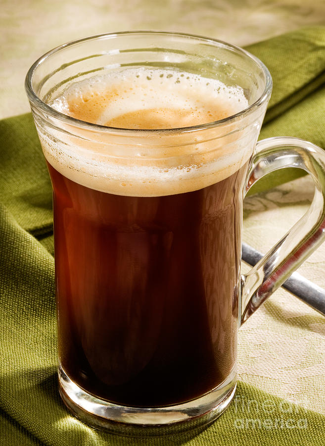 Coffee Photograph - Coffe In Tall Glass On Green by Iris Richardson