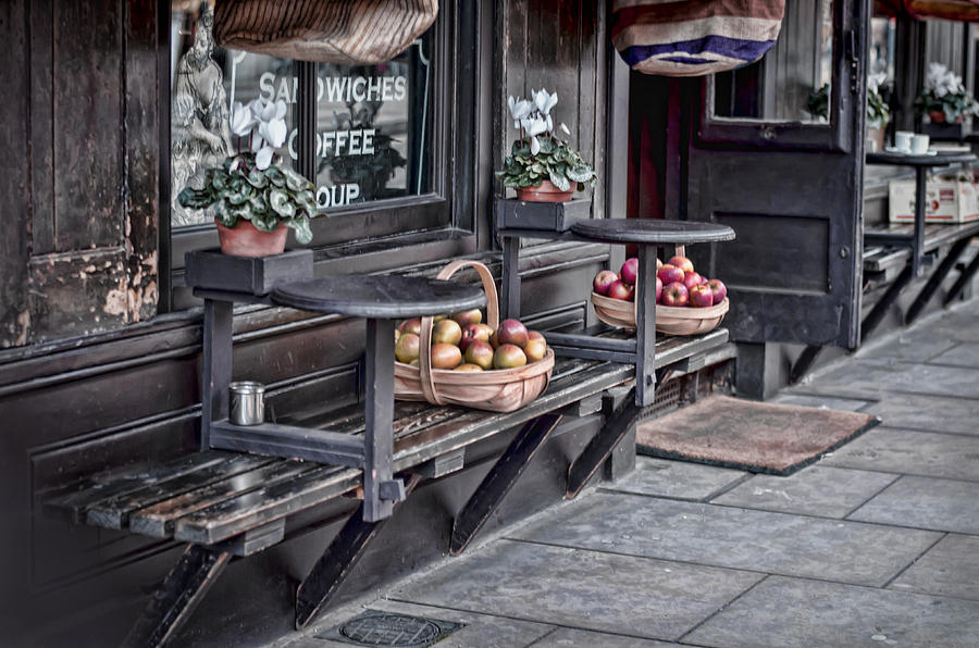 Bench Photograph - Coffe Shop Cafe by Heather Applegate
