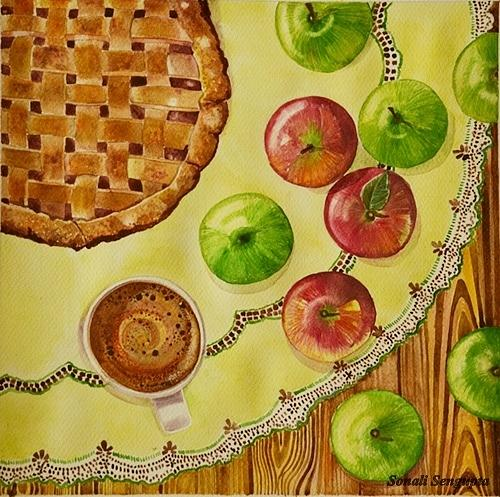 Apples Painting - Coffee And Apple Pie.. by Sonali Sengupta