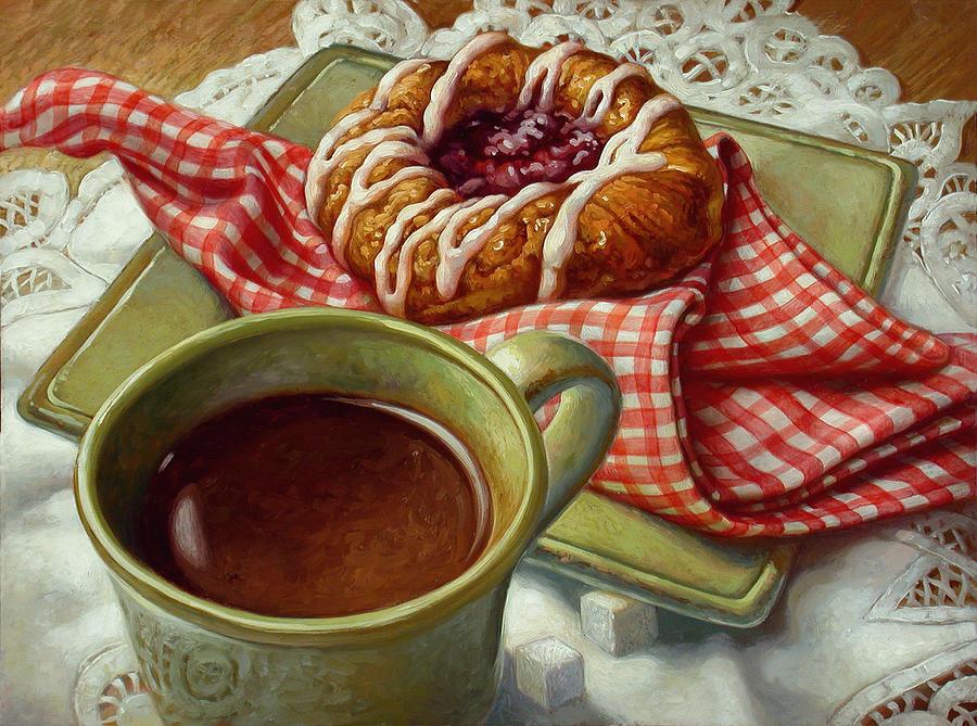 Food And Beverage Painting - Coffee And Danish by Mia Tavonatti
