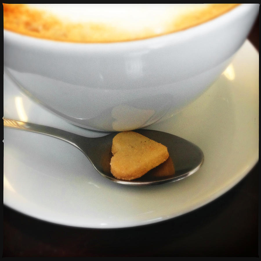 Heart Photograph - Coffee and heart shaped cookie by Matthias Hauser