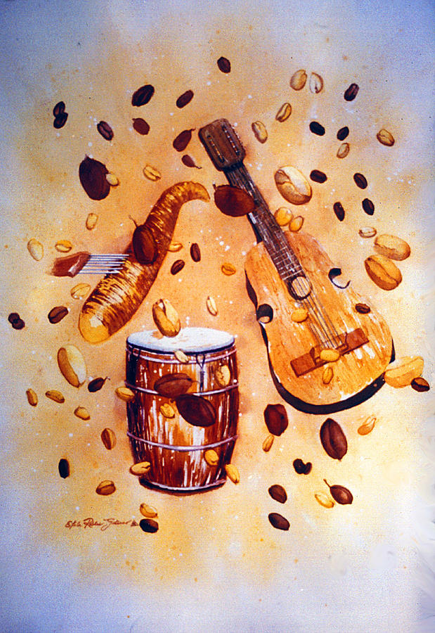 Watercolor Painting - Coffee And Music by Estela Robles