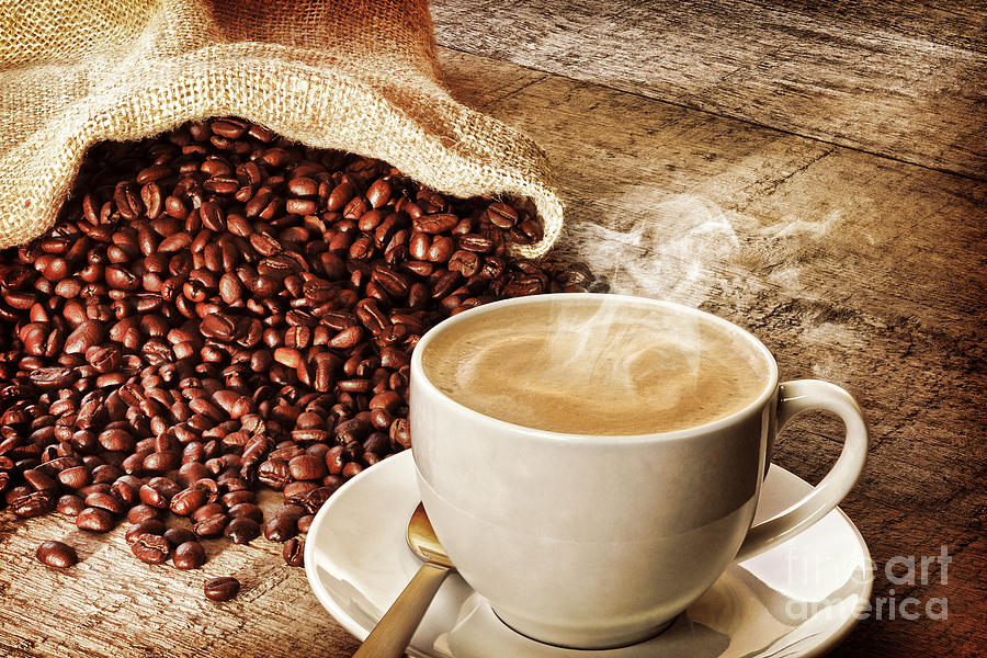 Coffee Photograph - Coffee And Sack Of Coffee Beans by Colin and Linda McKie