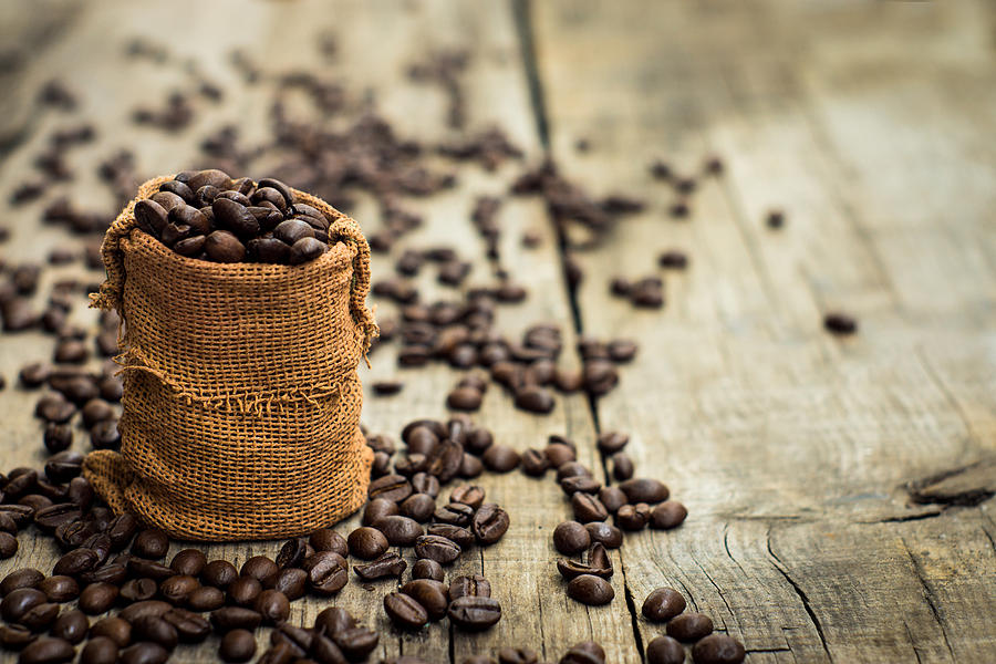 Bag Photograph - Coffee Beans by Aged Pixel