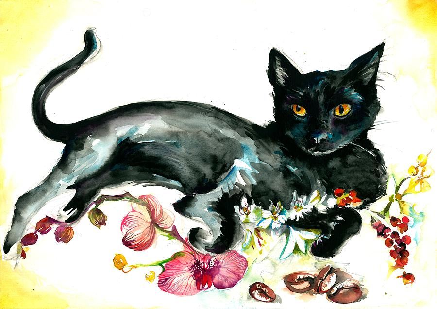 Coffee Black Cat Vintage Style Large Format Xxl Painting