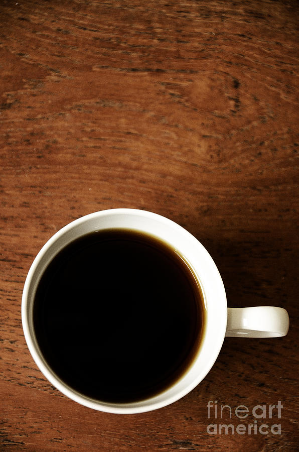 Coffee; Cup; Drink; Black; Hot; Beverage; White Cup; Handle; Dark; Still Life; Book; Read; Relax; Getting Away From It All; Novel; Peaceful Photograph - Coffee Break by Birgit Tyrrell