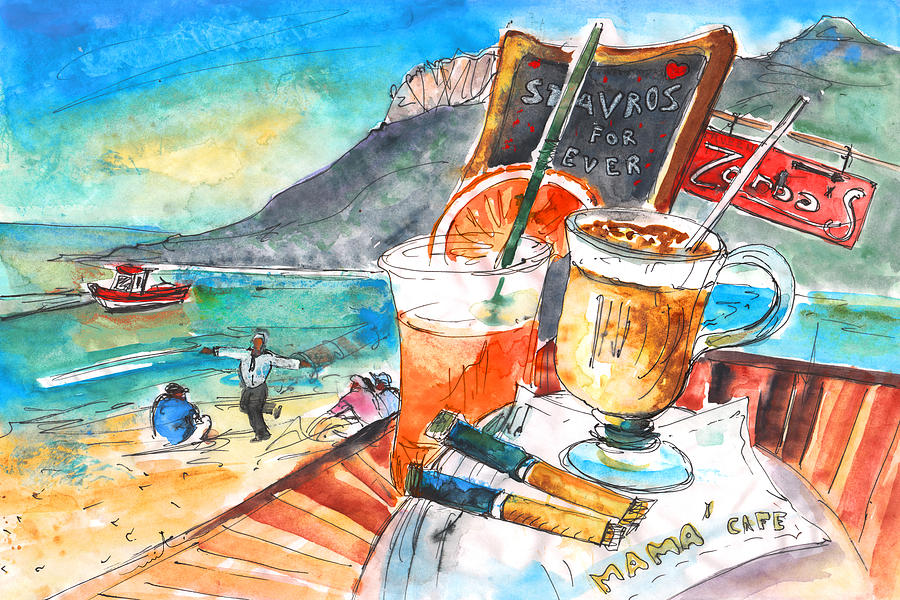 Travel Sketch Painting - Coffee Break In Stavros In Crete by Miki De Goodaboom