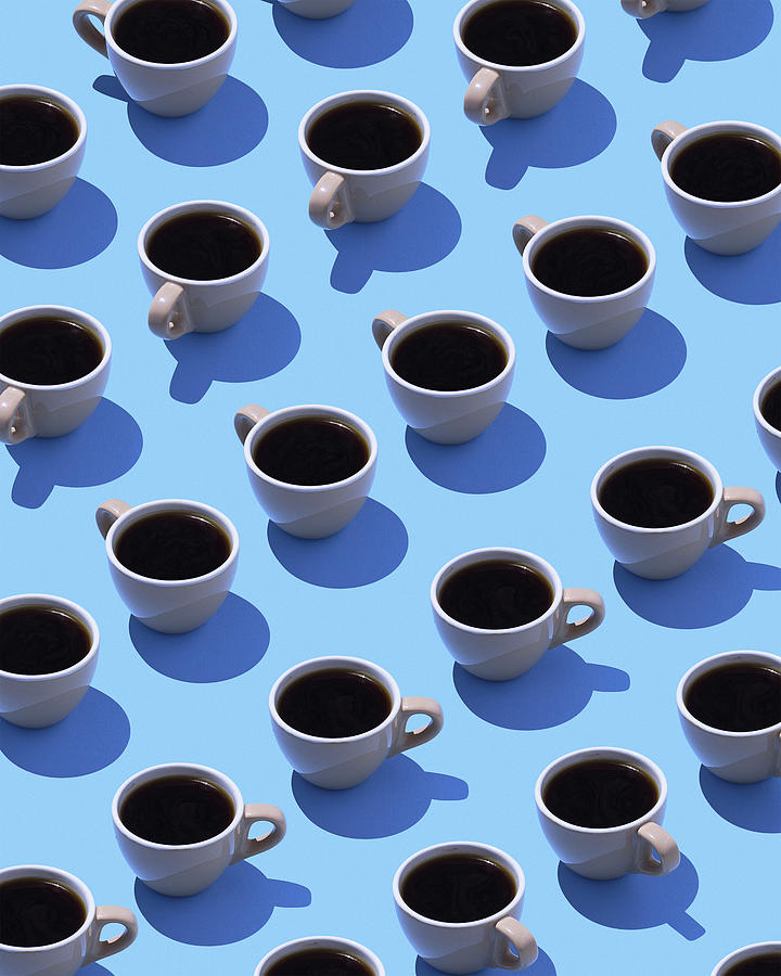 Coffee Cups On Light Blue Ground, 3d Digital Art by Westend61