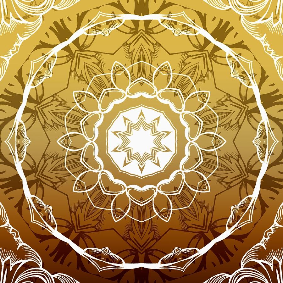 Coffee Flowers 1 Ornate Medallion Calypso Digital Art by Angelina Vick