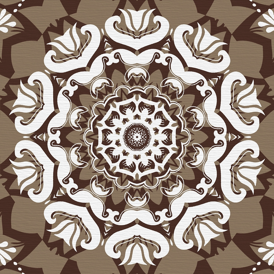 Intricate Digital Art - Coffee Flowers 10 Ornate Medallion by Angelina Vick