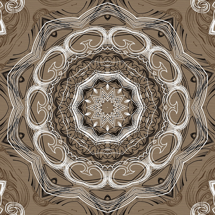 Intricate Digital Art - Coffee Flowers 2 Ornate Medallion by Angelina Tamez