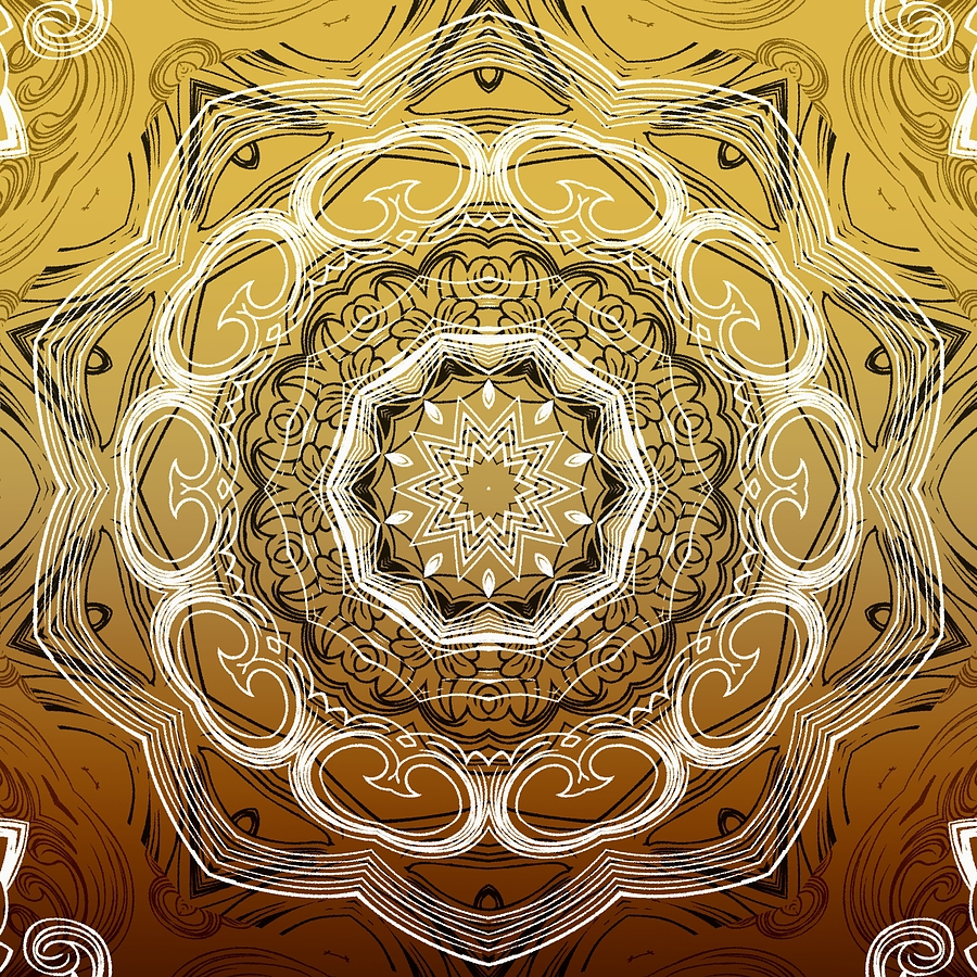 Intricate Digital Art - Coffee Flowers 2 Ornate Medallion Calypso by Angelina Tamez