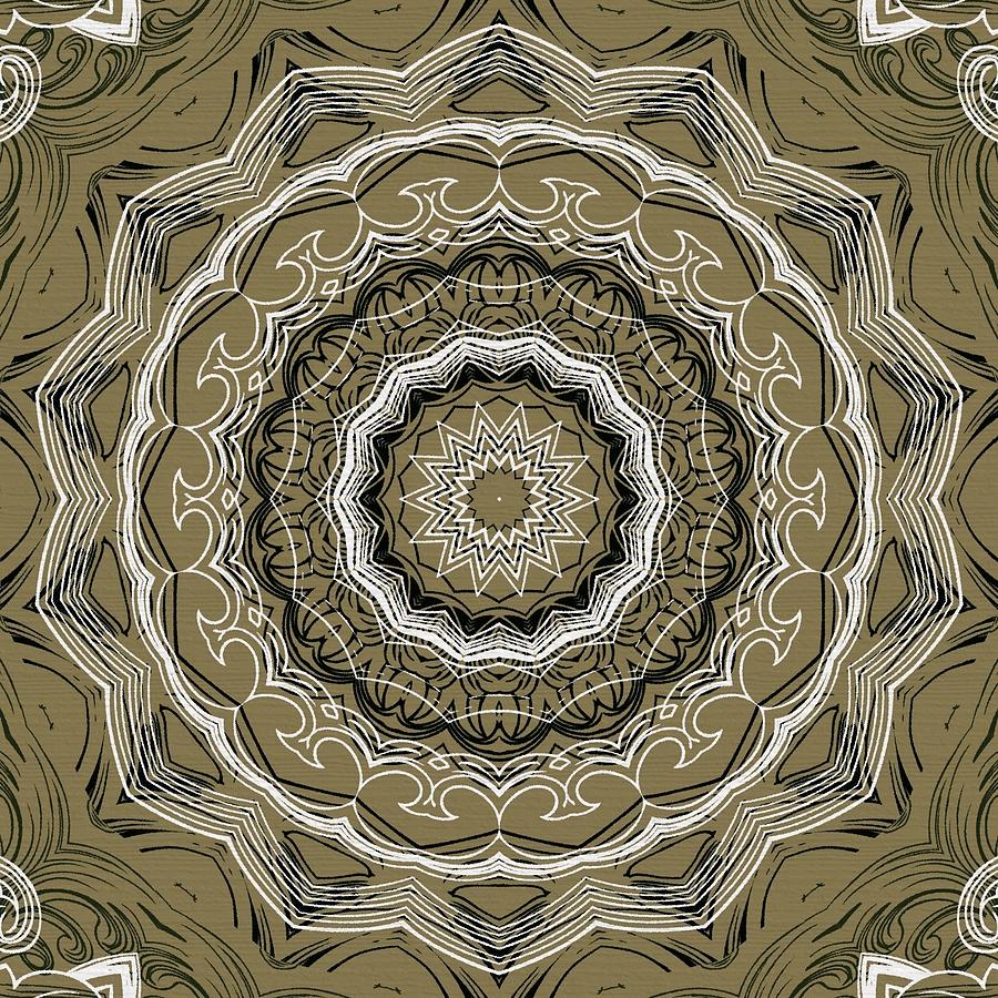 Intricate Digital Art - Coffee Flowers 2 Ornate Medallion Olive by Angelina Tamez
