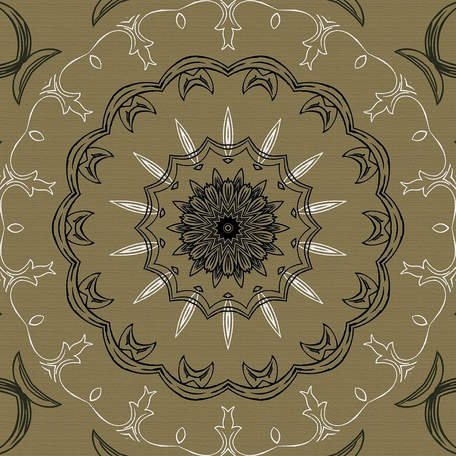 Intricate Digital Art - Coffee Flowers 3 Olive Ornate Medallion by Angelina Vick
