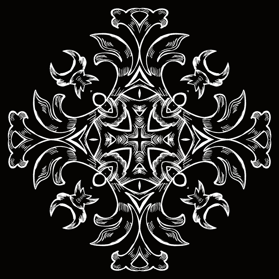 Intricate Digital Art - Coffee Flowers 7 Bw Ornate Medallion by Angelina Vick