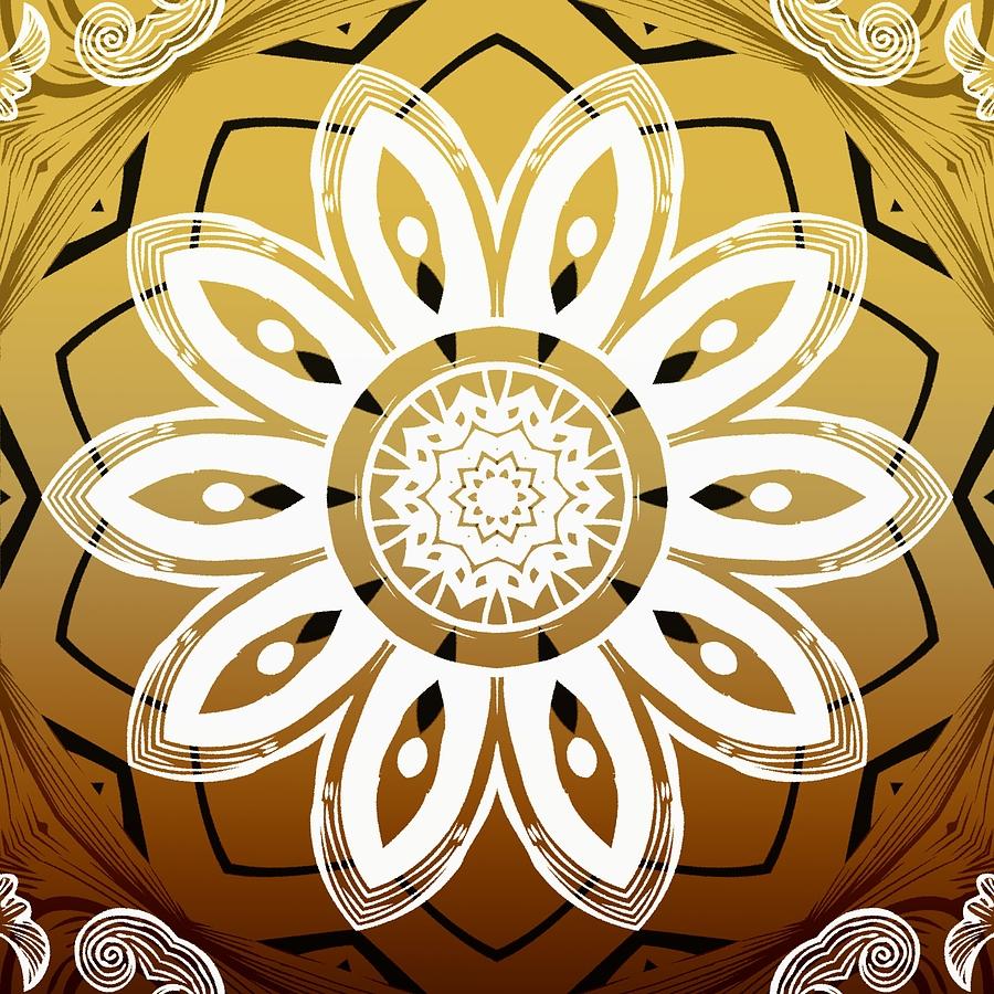 Coffee Flowers 8 Calypso Ornate Medallion Digital Art by Angelina Vick