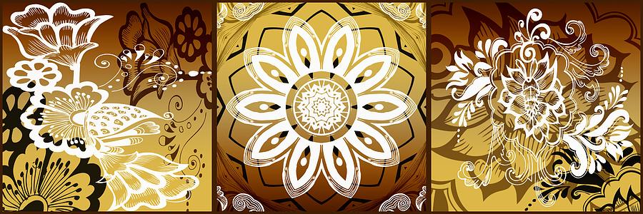 Intricate Digital Art - Coffee Flowers Calypso Triptych 2 Horizontal   by Angelina Vick