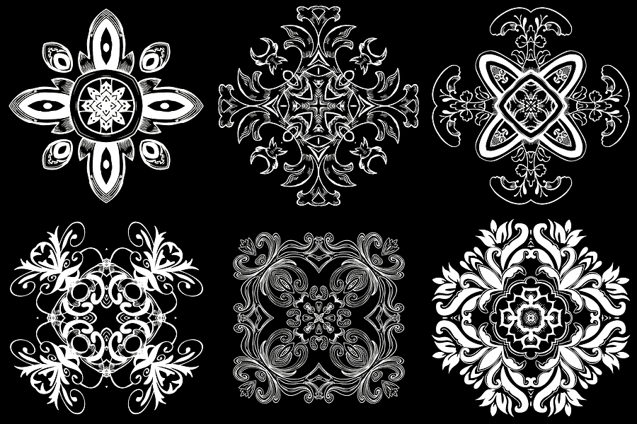 Intricate Digital Art - Coffee Flowers Ornate Medallions Bw 6 Peice Collage by Angelina Vick