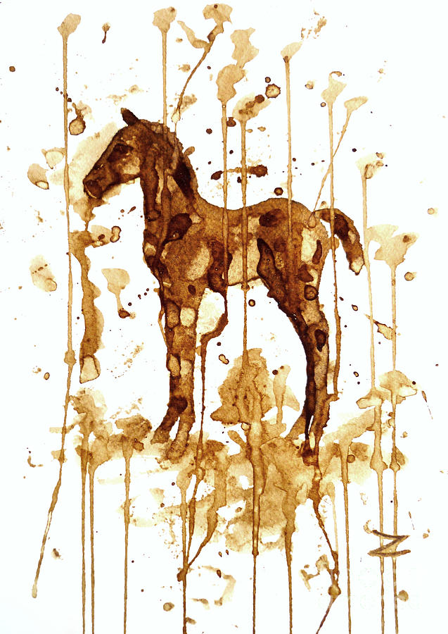 Coffee Painting - Coffee Foal by Zaira Dzhaubaeva