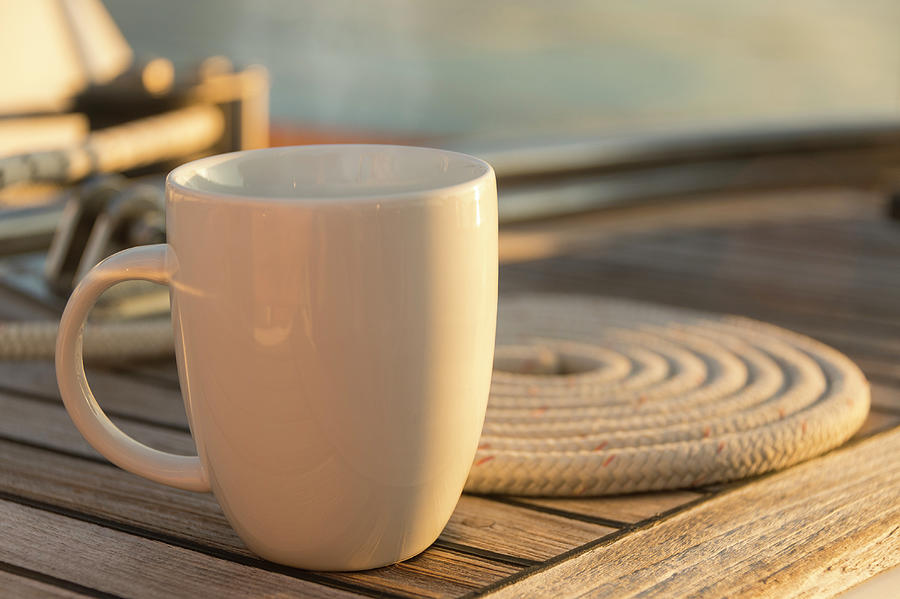 Coffee Or Tea Cup On 62 Foot Sailboat Photograph by Gary S Chapman