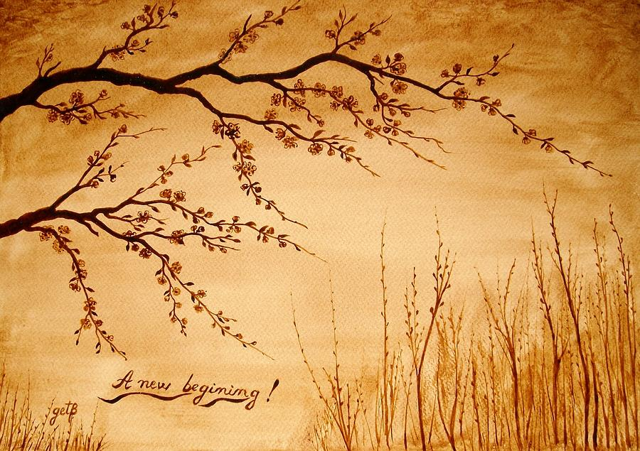 Cherry Blossoms On Spring Time Painting - Coffee Painting Cherry Blossoms by Georgeta  Blanaru