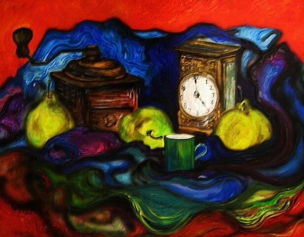 Coffee Painting - Coffee Time With Pears by Kendra Sorum