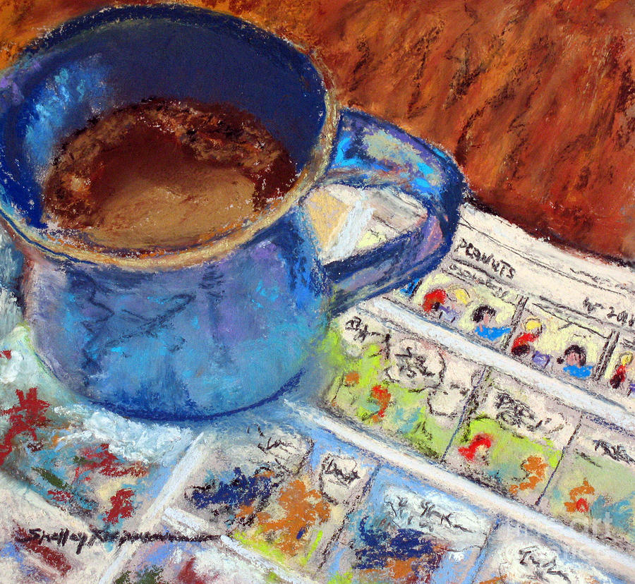 Morning Coffee Painting - Coffee With Peanuts by Shelley Koopmann