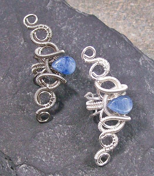 Silver Jewelry - Coiled Coil Kyanite Teardrop Ear Cuff by Heather Jordan