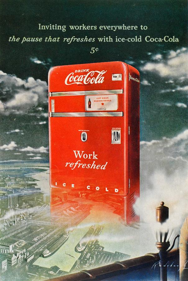 Work Refreshed Digital Art - Coke - Coca Cola Vintage Advert by Georgia Fowler