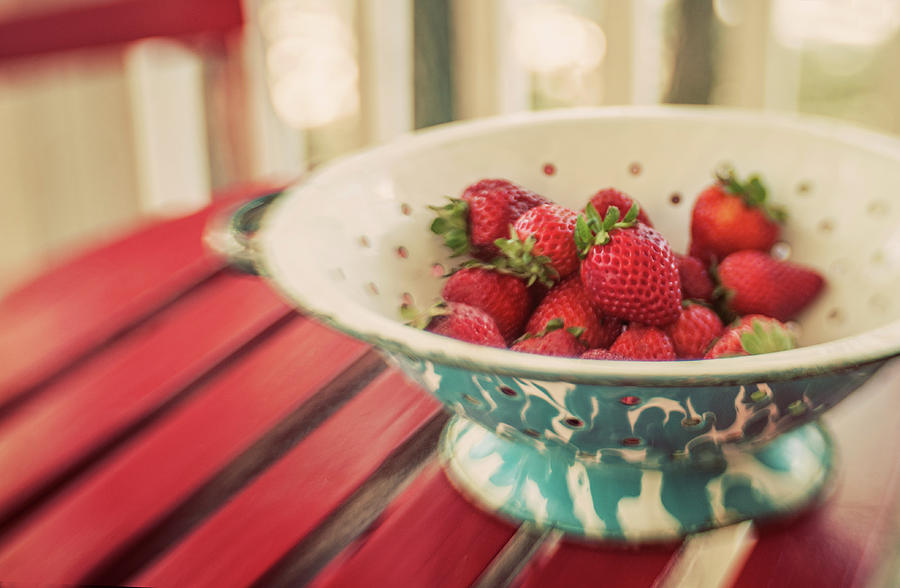 Colander With Strawberries Photograph by Suzanne Cummings