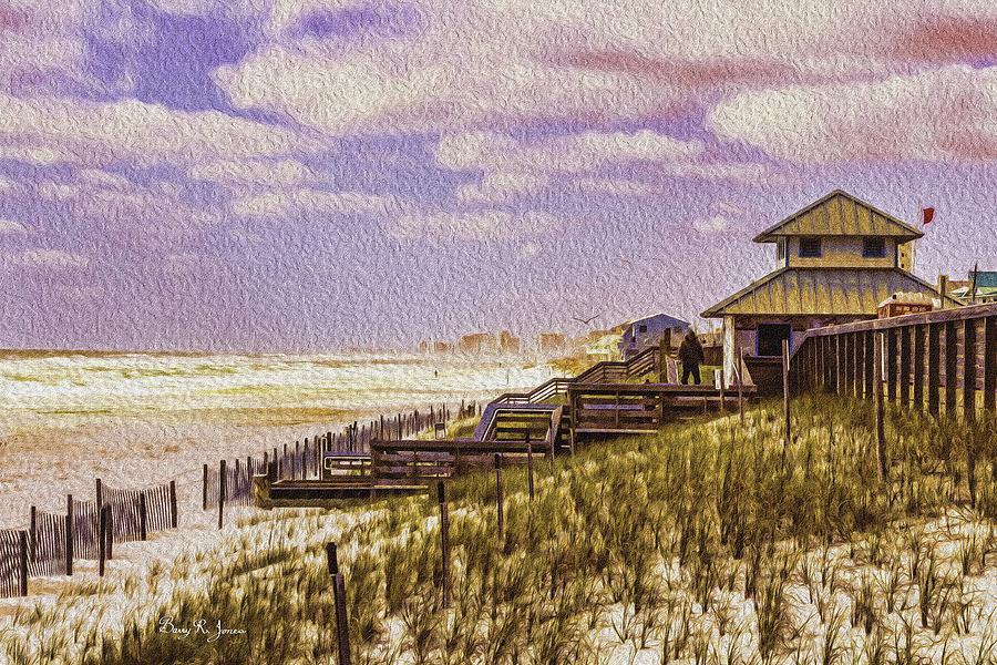 Digital Painting Painting - Waterfront - Coastal - Cold And Windy At The Beach by Barry Jones