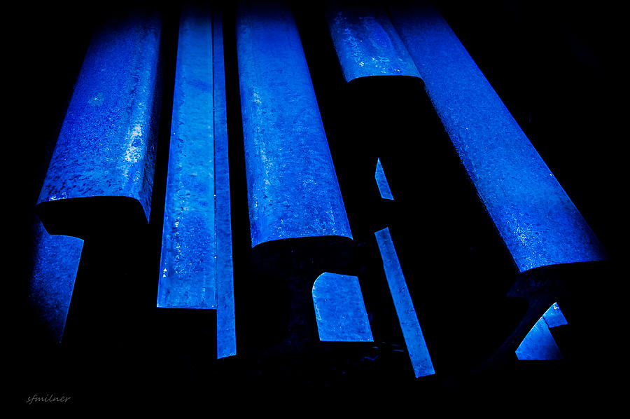 Abstracts Photograph - Cold Blue Steel by Steven Milner