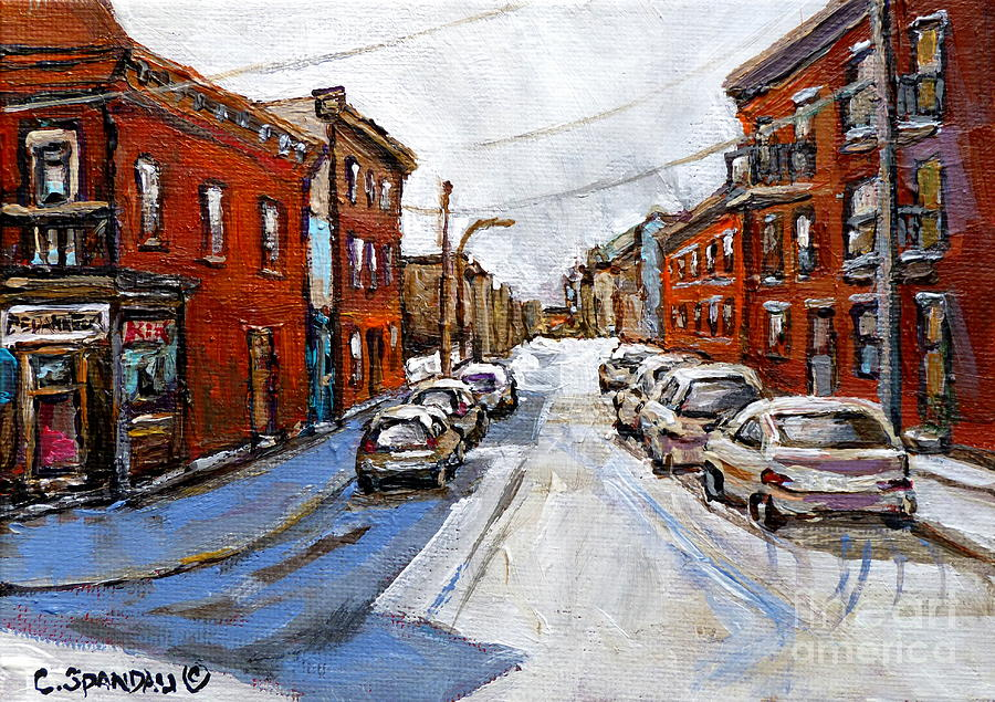 Montreal Streets Painting - Cold February Day St Henri  Corner Dep Near Notre Dame Antique Row Montreal Winter City Scene  by Carole Spandau