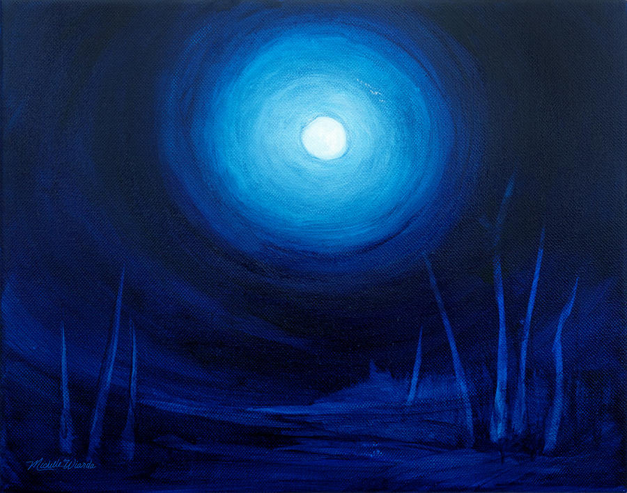 Moon Painting - Cold Orb by Michelle Wiarda-Constantine