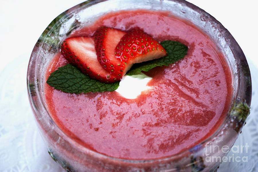 Color Image Photograph - Cold Strawberry Rhubarb Soup In Ice Bowl by Juli Scalzi