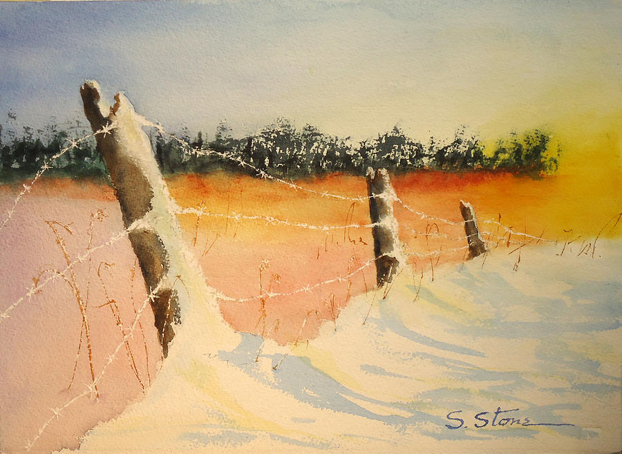 Landscape Painting - Cold Sunrise by Sandra Stone