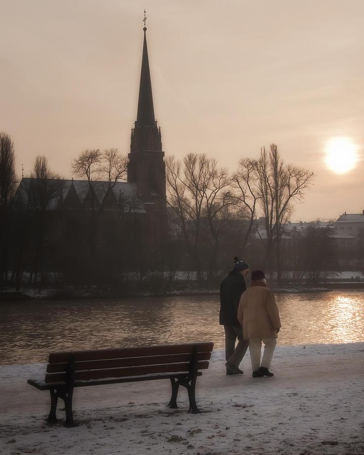 Church Photograph - Cold Winter Light by Joan Carroll