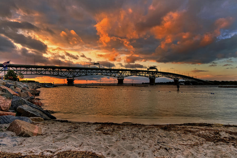 Coleman Bridge Photograph - Coleman Bridge At Sunset by Jerry Gammon