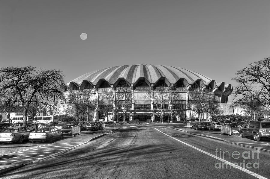 Wvu Photograph - Coliseum Black And White With Moon by Dan Friend